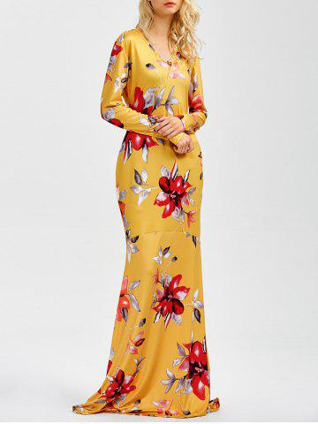 Cheap V Neck Floral Printed Maxi Dress