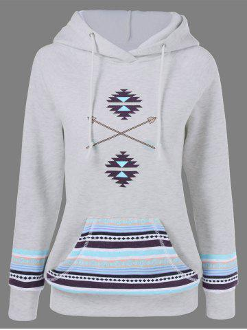 Shops Arrow Print Kangaroo Pocket Hoodie LIGHT GRAY L