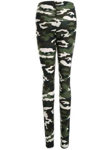 Affordable High Waisted Camouflage Leggings - L CAMOUFLAGE COLOR Mobile
