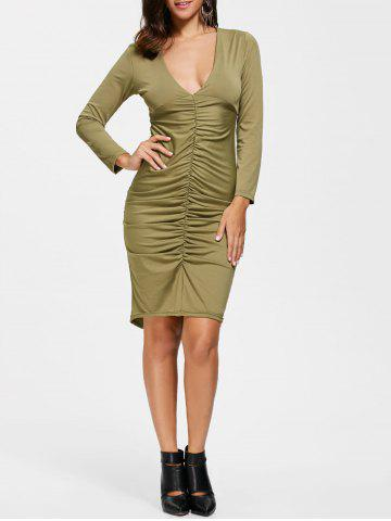 Sale Plunge Neck Sheath Ruched Dress