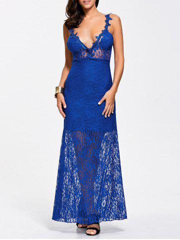 Shops Maxi Lace Plunge Backless Sheer Prom Dress ROYAL XL