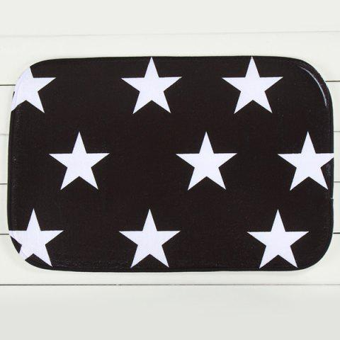 Outfits Star Pattern Antislip Water Absorbent Room Carpet - BLACK WHITE  Mobile