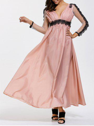 Backless A Line Prom Formal Dress with Sleeves - Pink - L