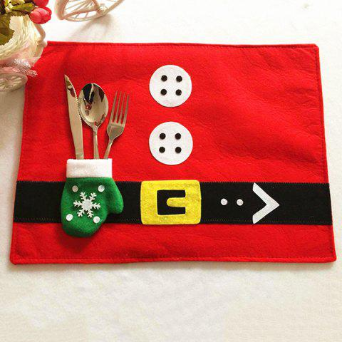 Hot Home Decor Christmas Supplies Cloth Pad with Knife and Fork Bag Table Mat - RED  Mobile