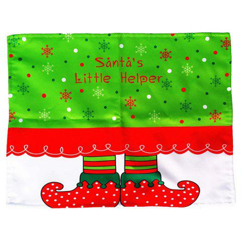 Affordable Home Decor Christmas Cloth Pad Elves Printing Table Mat - RED AND GREEN  Mobile