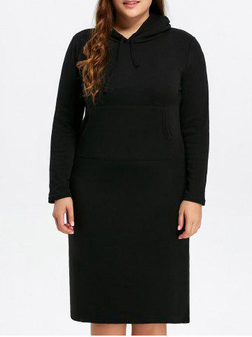 Outfit Plus Size Hooded Sheath Hoodie Dress BLACK 3XL