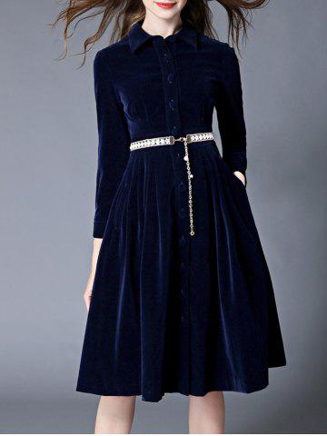 Buy Fit and Flare Velvet Dress With Belt