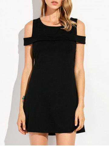 Store Round Neck Cold Shoulder Mini Dress