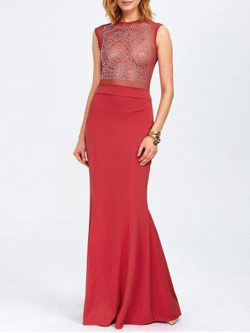 Outfits Rhinestone Maxi Evening Gown Formal Dress RED L