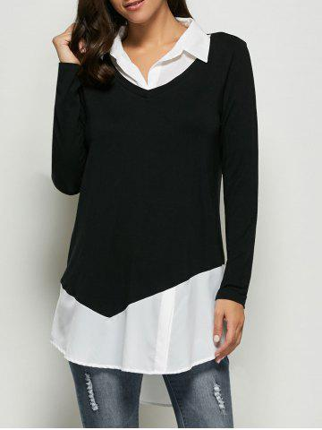 Trendy Patchwork High Low Hem Blouse WHITE/BLACK XL