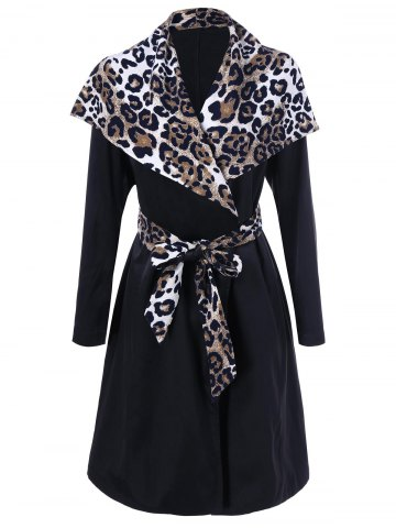 Chic Leopard Trim Waterfall Trench Coat