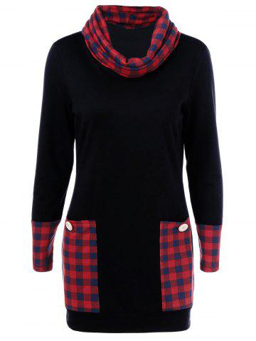 Sale Casual Cowl Neck Plaid Trim Dress with Pockets RED WITH BLACK M
