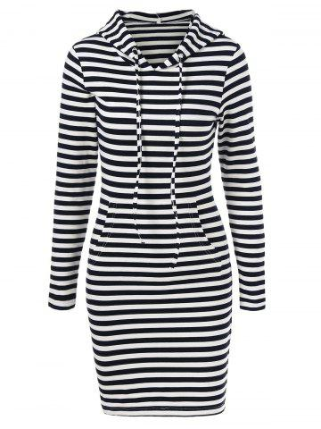 Affordable Striped Hooded Dress STRIPE M