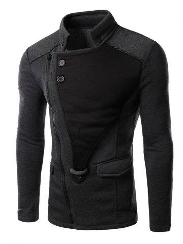 Unique Asymmetrical Zip Up Panel Jacket GRAY M