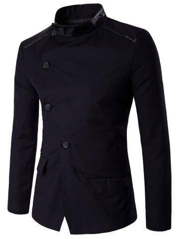 Stand Collar Side Button Up PU Panel Jacket - Black - M