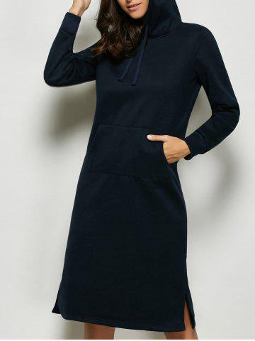 Fancy Hooded Kangaroo Pocket Midi Dress DEEP BLUE XL