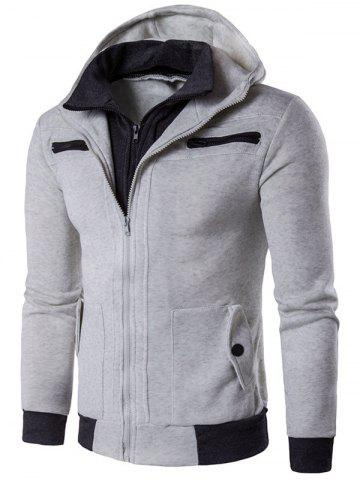 Discount Zipper Embellished Faux Twinset Hoodie LIGHT GRAY 2XL