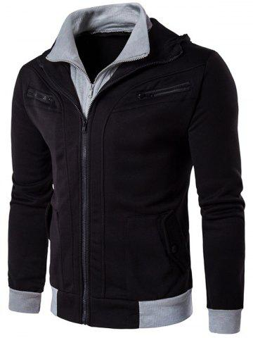 Fashion Zipper Embellished Faux Twinset Hoodie - L BLACK Mobile