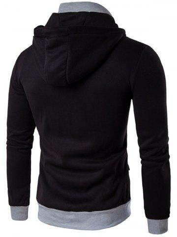 Outfit Zipper Embellished Faux Twinset Hoodie - M BLACK Mobile