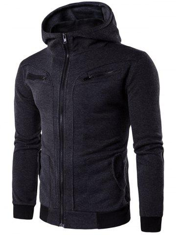 Discount Zipper Embellished Faux Twinset Hoodie - L DEEP GRAY Mobile