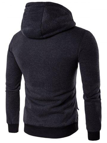 Affordable Zipper Embellished Faux Twinset Hoodie - L DEEP GRAY Mobile