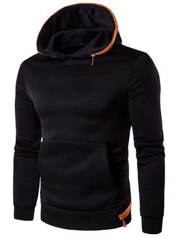 Buy Kangaroo Pocket Zip Embellished Pullover Hoodie - L BLACK Mobile