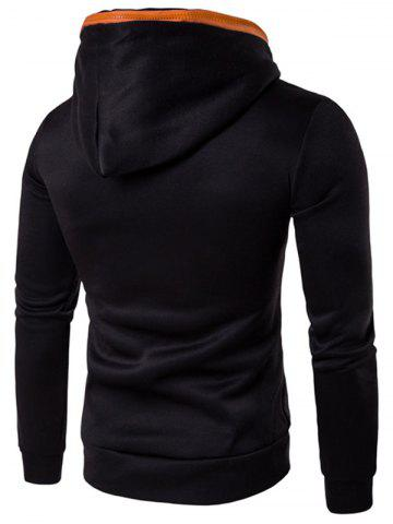 Unique Kangaroo Pocket Zip Embellished Pullover Hoodie - L BLACK Mobile