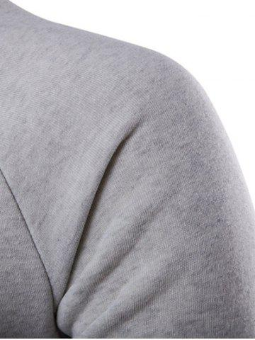 Fancy Double Breasted Raglan Sleeve Hoodie - XL LIGHT GRAY Mobile