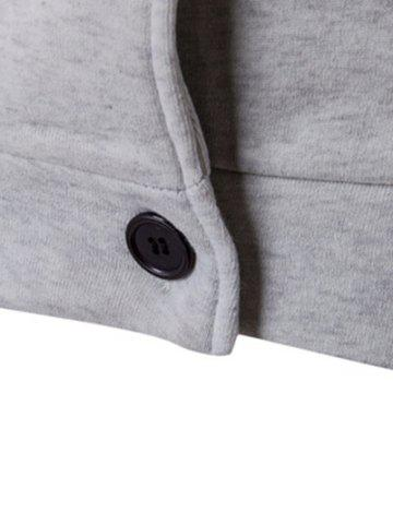 Buy Double Breasted Raglan Sleeve Hoodie - XL LIGHT GRAY Mobile