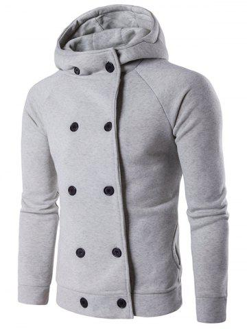 Outfit Double Breasted Raglan Sleeve Hoodie - L LIGHT GRAY Mobile