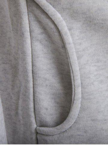 Cheap Double Breasted Raglan Sleeve Hoodie - M LIGHT GRAY Mobile