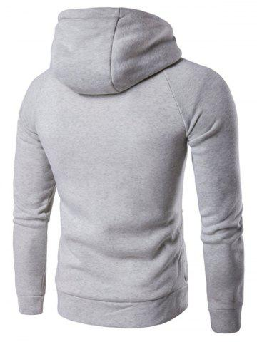 Store Double Breasted Raglan Sleeve Hoodie - M LIGHT GRAY Mobile
