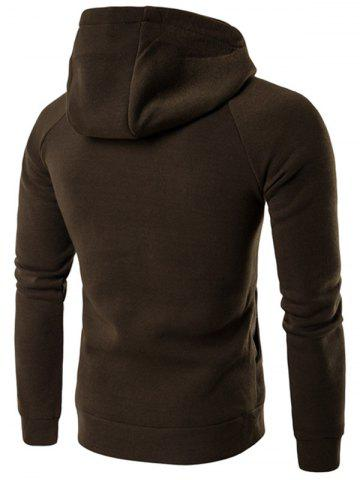 New Double Breasted Raglan Sleeve Olive Hoodie men - XL OLIVE GREEN Mobile