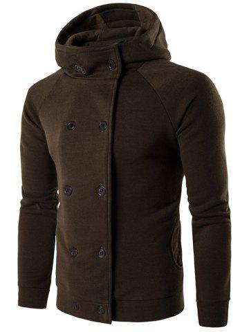 New Double Breasted Raglan Sleeve Hoodie - L OLIVE GREEN Mobile