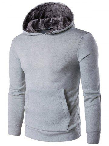 Buy Kangaroo Pocket Design Pullover Hoodie LIGHT GRAY 2XL