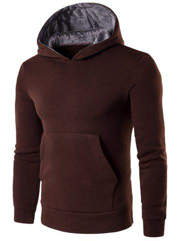 Buy Kangaroo Pocket Design Pullover Hoodie - M COFFEE Mobile