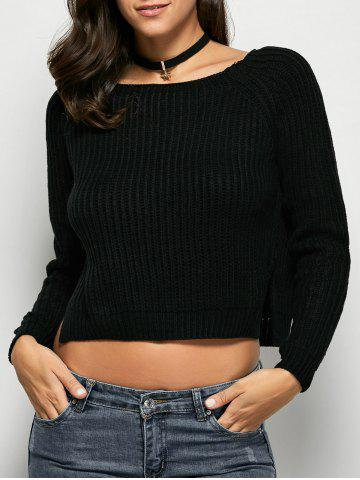 Fashion Cropped Ribbed Sweater - ONE SIZE BLACK Mobile