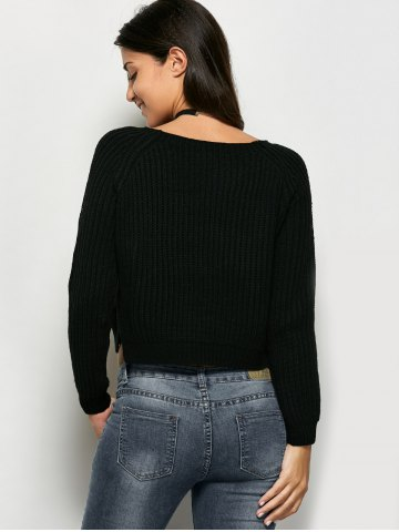 Fancy Cropped Ribbed Sweater - ONE SIZE BLACK Mobile