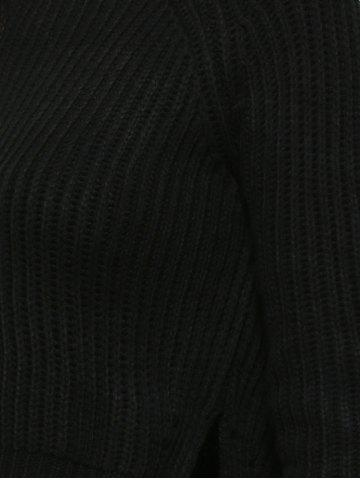Trendy Cropped Ribbed Sweater - ONE SIZE BLACK Mobile