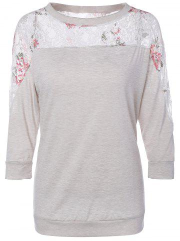 New Patchwork Lace Insert T-Shirt - L LIGHT GREY Mobile
