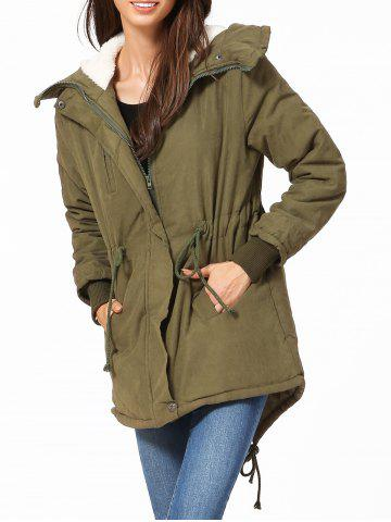 Hooded High Low Parka - Army Green - Xl