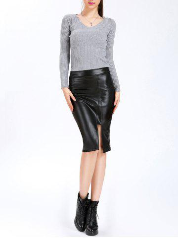 Online High Waisted Mid Calf PU Leahter Skirt - M BLACK Mobile