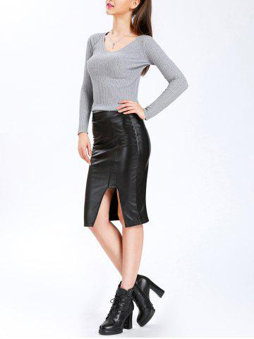 Discount High Waisted Mid Calf PU Leahter Skirt - M BLACK Mobile
