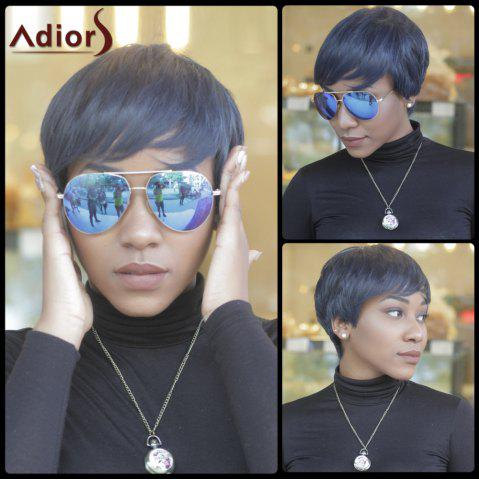 Online Short Pixie Cut Capless Straight Inclined Bang Synthetic Wig