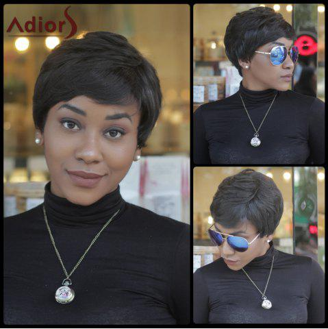 Shop Faddish Short Fluffy Side Bang Straight Synthetic Capless Wig BLACK