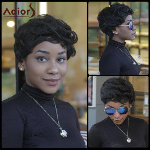 Fashion Pixie Cut Short Fluffy Curly Side Bang Synthetic Capless Wig BLACK