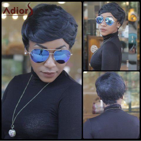 Sale Pixie Cut Short Fluffy Slightly Curled Side Bang Synthetic Capless Wig BLACK BLUE