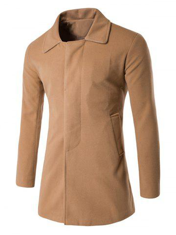 Covered Button Back Vent Wool Blend Coat - Camel - L
