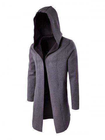 Plain Hooded Open Front Coat - GRAY M