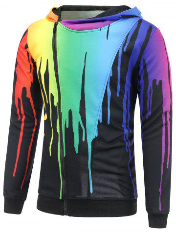 Latest Paint Dripping Asymmetrical Zip Hoodie - L BLACK Mobile